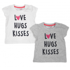 T-shirt Love Hugs Kisses Grijs