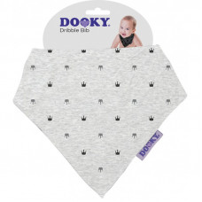 Dooky Dribble Bib - Light Grey Crowns