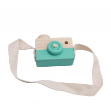 Houten camera turquoise